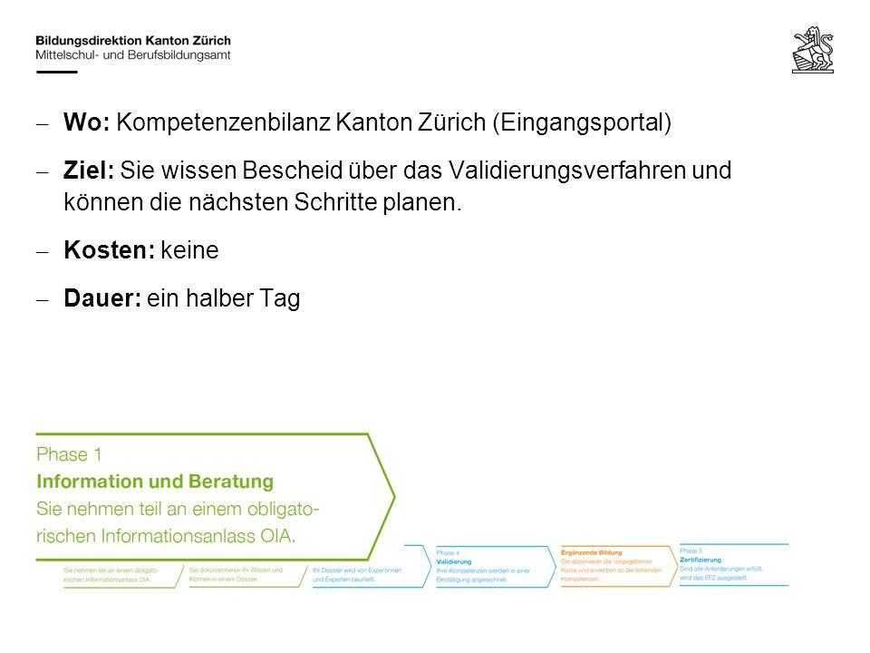 – Beratung: Kompetenzenbilanz Kanton Zürich (Eingangsportal) – Ziel: Sie erkennen Ihre Fähigkeiten und belegen nach vorgegebenen Kriterien, welche Kompetenzen Sie für den angestrebten Berufsabschluss bereits besitzen.