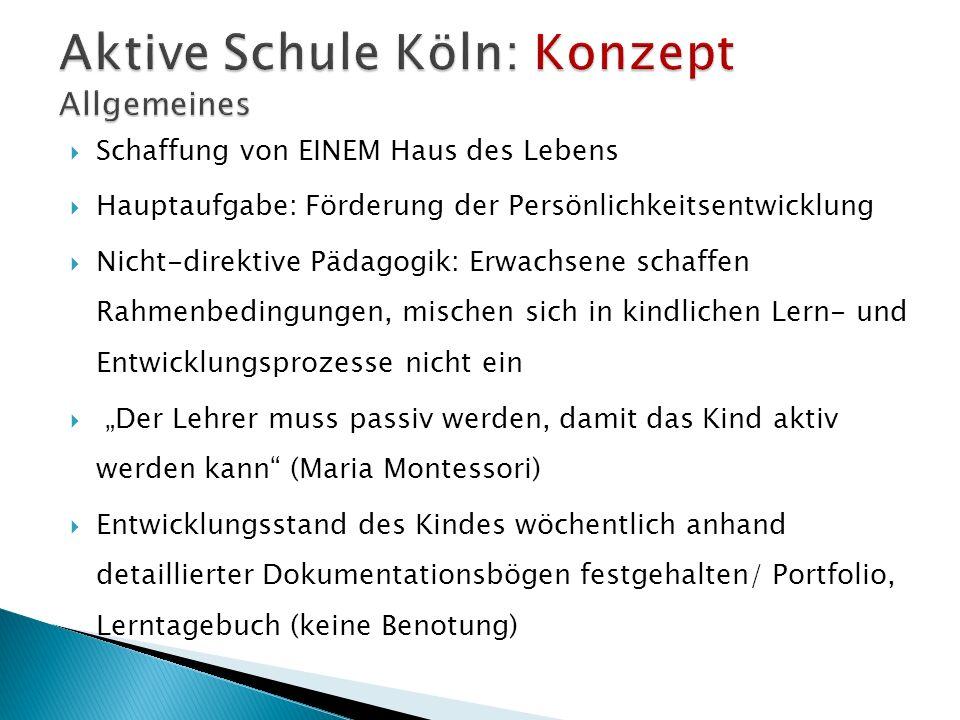 Schaffung von EINEM Haus des Lebens Hauptaufgabe: Förderung der Persönlichkeitsentwicklung Nicht-direktive Pädagogik: Erwachsene schaffen Rahmenbeding