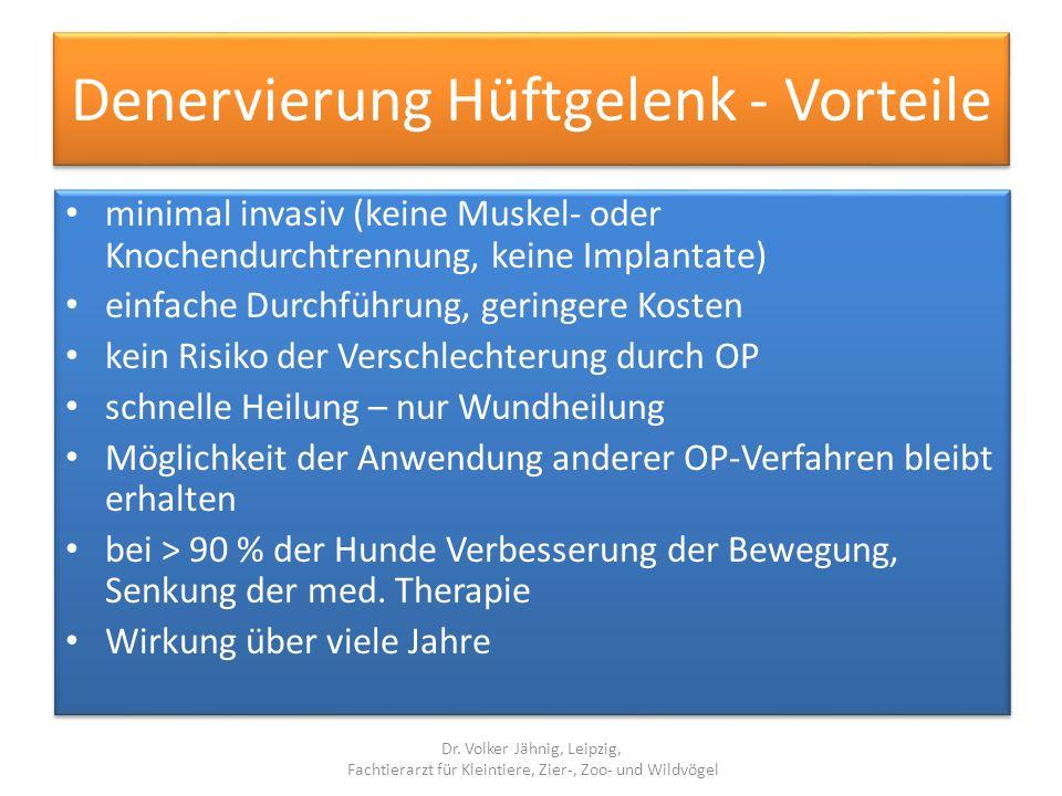 Denervierung Hüftgelenk - Vorteile minimal invasiv (keine Muskel- oder Knochendurchtrennung, keine Implantate) einfache Durchführung, geringere Kosten
