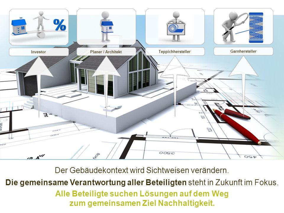 Der Gebäudekontext wird Sichtweisen verändern. Investor Planer / Architekt Teppichhersteller Garnhersteller Die gemeinsame Verantwortung aller Beteili