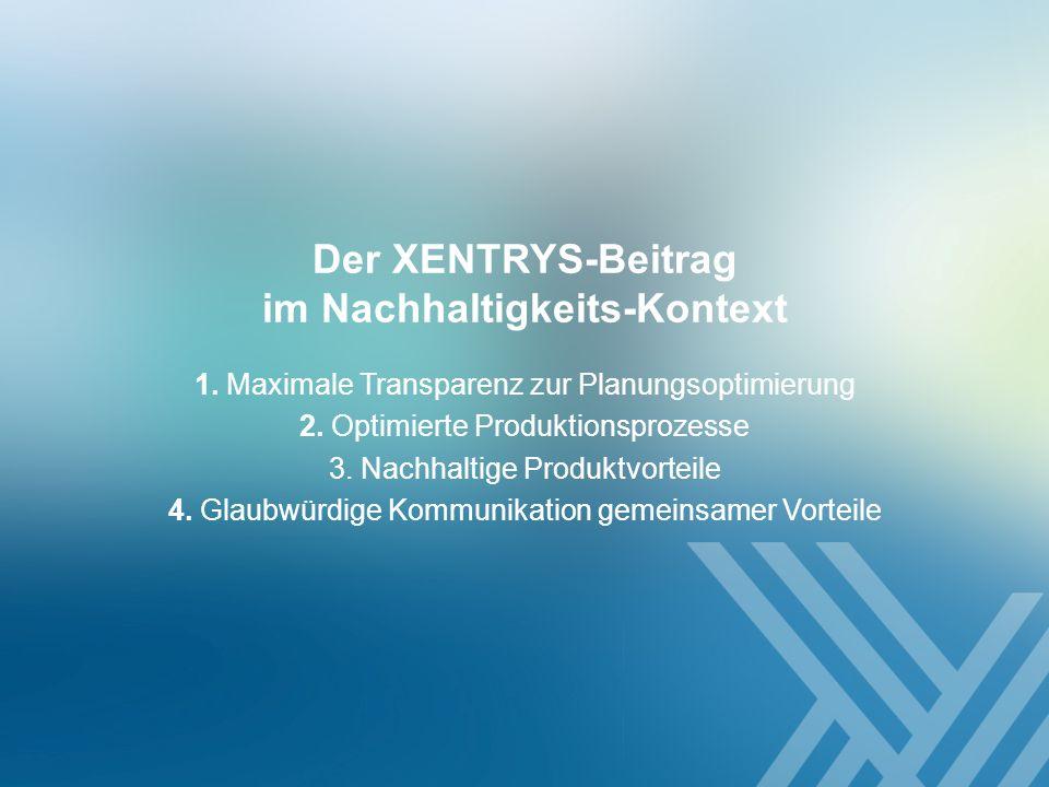 1. Maximale Transparenz zur Planungsoptimierung 2. Optimierte Produktionsprozesse 3. Nachhaltige Produktvorteile 4. Glaubwürdige Kommunikation gemeins