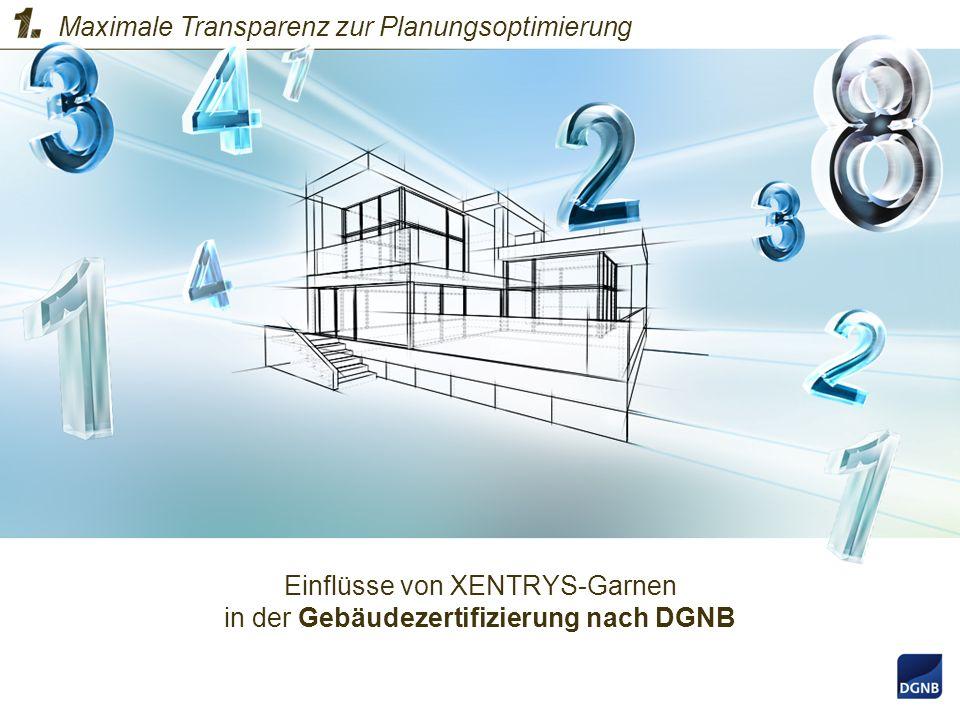 Einflüsse von XENTRYS-Garnen in der Gebäudezertifizierung nach DGNB Maximale Transparenz zur Planungsoptimierung