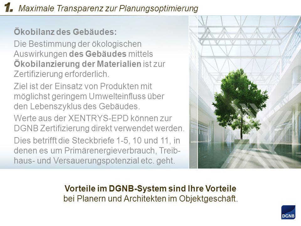 Ökobilanz des Gebäudes: Die Bestimmung der ökologischen Auswirkungen des Gebäudes mittels Ökobilanzierung der Materialien ist zur Zertifizierung erfor