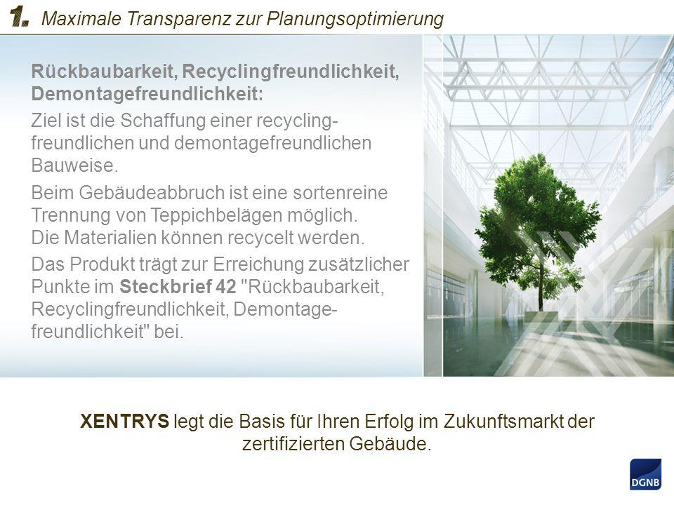 Rückbaubarkeit, Recyclingfreundlichkeit, Demontagefreundlichkeit: Ziel ist die Schaffung einer recycling- freundlichen und demontagefreundlichen Bauwe