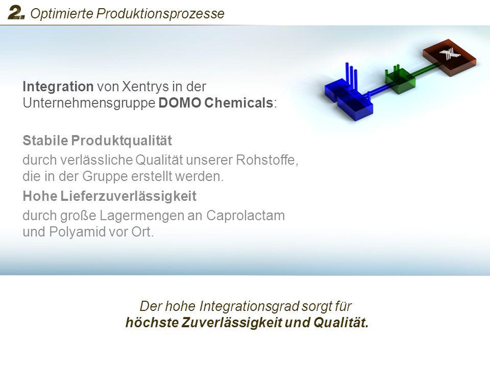 Der hohe Integrationsgrad sorgt für höchste Zuverlässigkeit und Qualität. Integration von Xentrys in der Unternehmensgruppe DOMO Chemicals: Optimierte