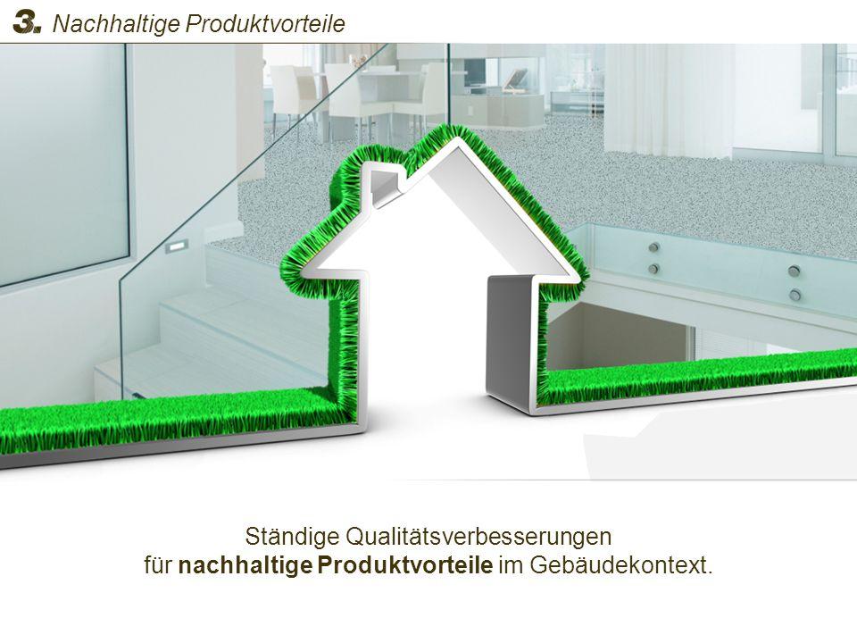 Ständige Qualitätsverbesserungen für nachhaltige Produktvorteile im Gebäudekontext. Nachhaltige Produktvorteile