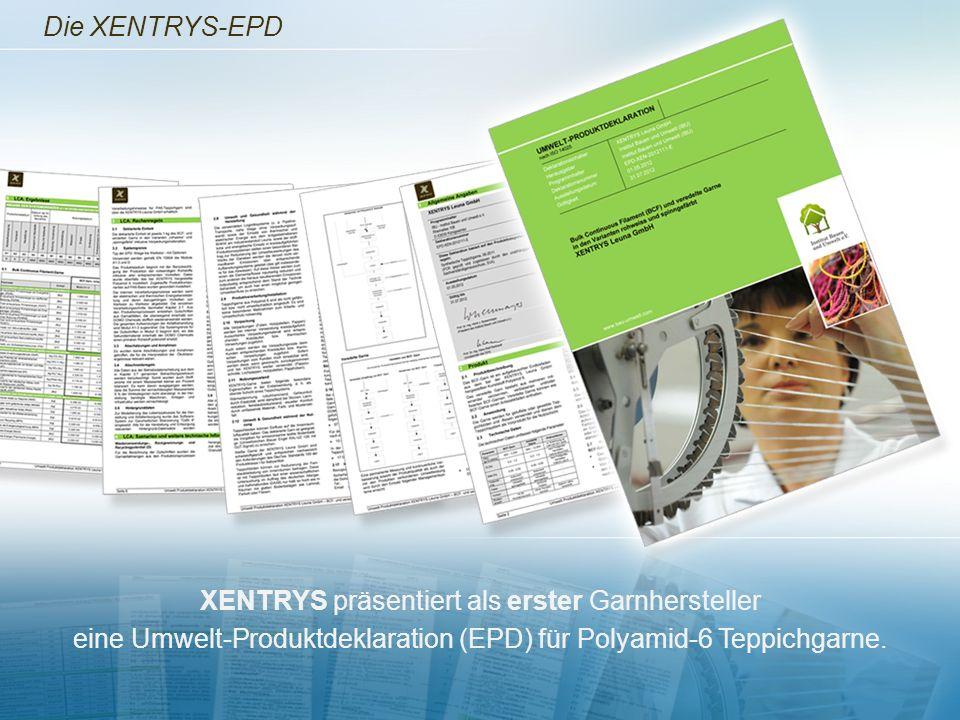 Die XENTRYS-EPD XENTRYS präsentiert als erster Garnhersteller eine Umwelt-Produktdeklaration (EPD) für Polyamid-6 Teppichgarne.