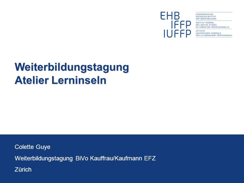 16.11.2011Weiterbildung BiVo 2012 12 Colette Guye Input: Beispiel Lerninsel 2: Inhalte InhalteSprachmittel u.a.