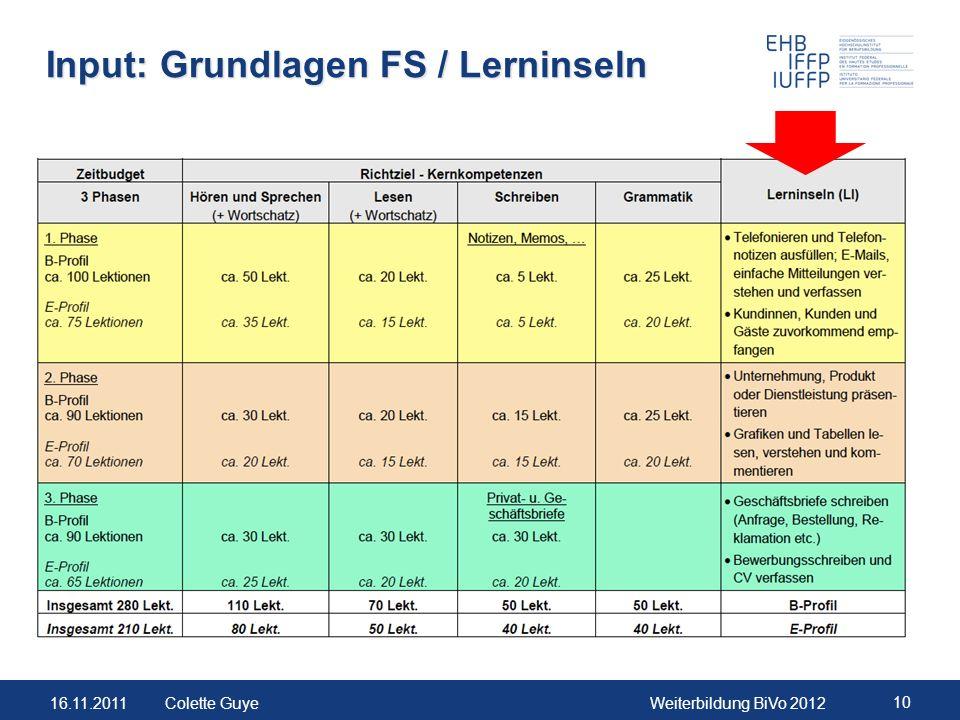 16.11.2011Weiterbildung BiVo 2012 10 Colette Guye Input: Grundlagen FS / Lerninseln