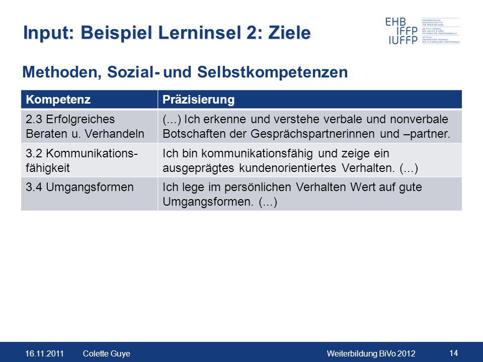 16.11.2011Weiterbildung BiVo 2012 14 Colette Guye Input: Beispiel Lerninsel 2: Ziele KompetenzPräzisierung 2.3 Erfolgreiches Beraten u. Verhandeln (..