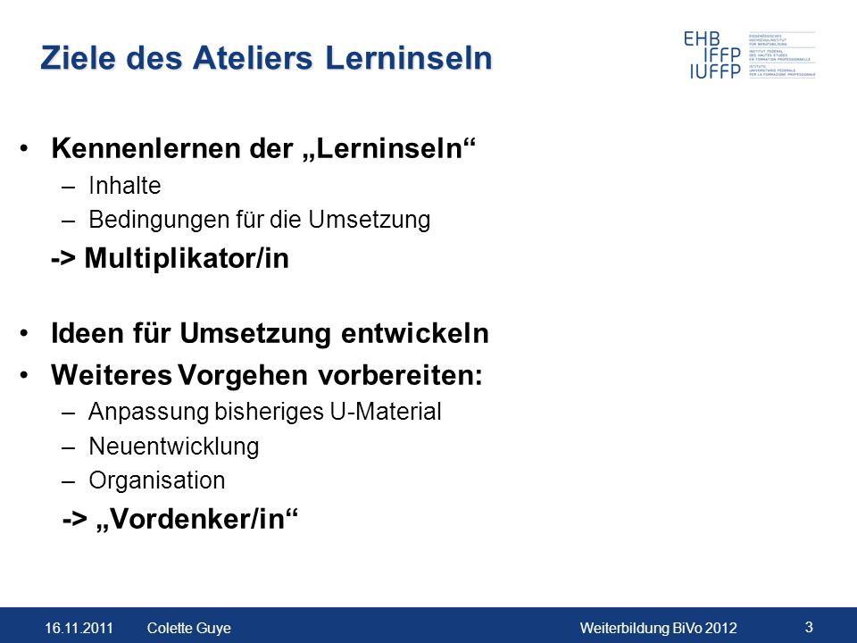 16.11.2011Weiterbildung BiVo 2012 14 Colette Guye Input: Beispiel Lerninsel 2: Ziele KompetenzPräzisierung 2.3 Erfolgreiches Beraten u.