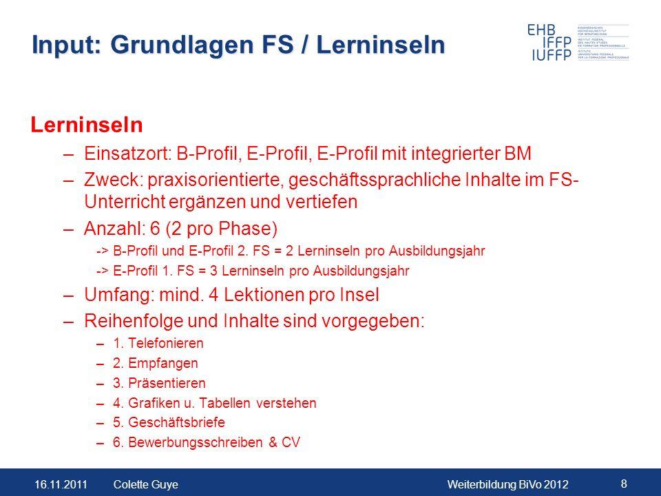 16.11.2011Weiterbildung BiVo 2012 8 Colette Guye Input: Grundlagen FS / Lerninseln Lerninseln –Einsatzort: B-Profil, E-Profil, E-Profil mit integriert