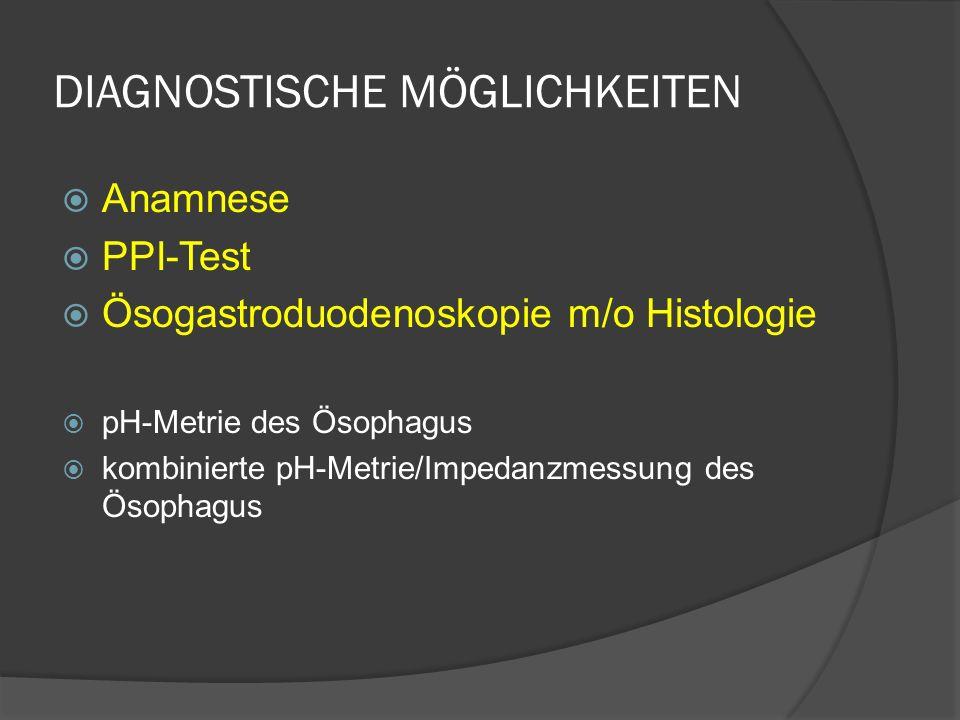 DIAGNOSTISCHE MÖGLICHKEITEN Anamnese PPI-Test Ösogastroduodenoskopie m/o Histologie pH-Metrie des Ösophagus kombinierte pH-Metrie/Impedanzmessung des Ösophagus