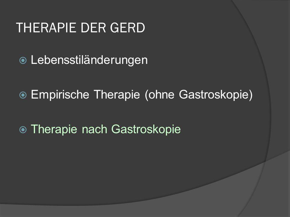 THERAPIE DER GERD Lebensstiländerungen Empirische Therapie (ohne Gastroskopie) Therapie nach Gastroskopie