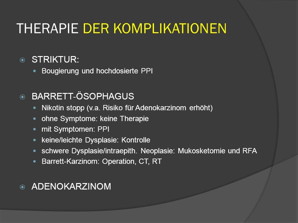 THERAPIE DER KOMPLIKATIONEN STRIKTUR: Bougierung und hochdosierte PPI BARRETT-ÖSOPHAGUS Nikotin stopp (v.a.