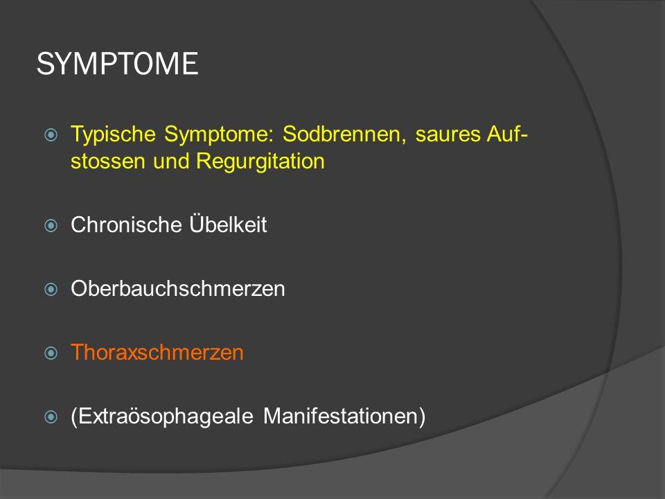 SYMPTOME Typische Symptome: Sodbrennen, saures Auf- stossen und Regurgitation Chronische Übelkeit Oberbauchschmerzen Thoraxschmerzen (Extraösophageale Manifestationen)