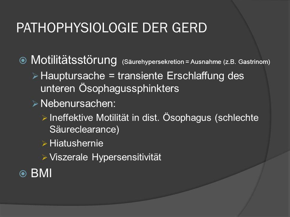 THERAPIE NACH GASTROSKOPIE Endoskopie normal: Initialtherapie: PPI für 4 Wo, ev.