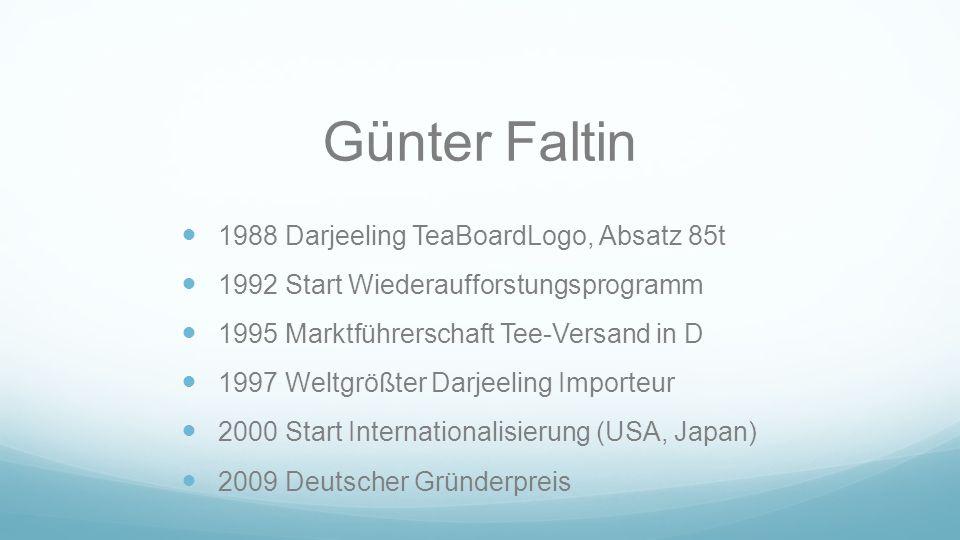 Günter Faltin 1988 Darjeeling TeaBoardLogo, Absatz 85t 1992 Start Wiederaufforstungsprogramm 1995 Marktführerschaft Tee-Versand in D 1997 Weltgrößter