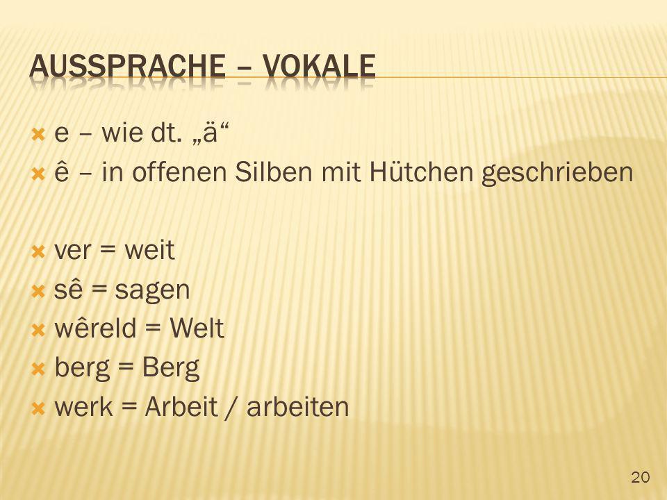20 e – wie dt. ä ê – in offenen Silben mit Hütchen geschrieben ver = weit sê = sagen wêreld = Welt berg = Berg werk = Arbeit / arbeiten