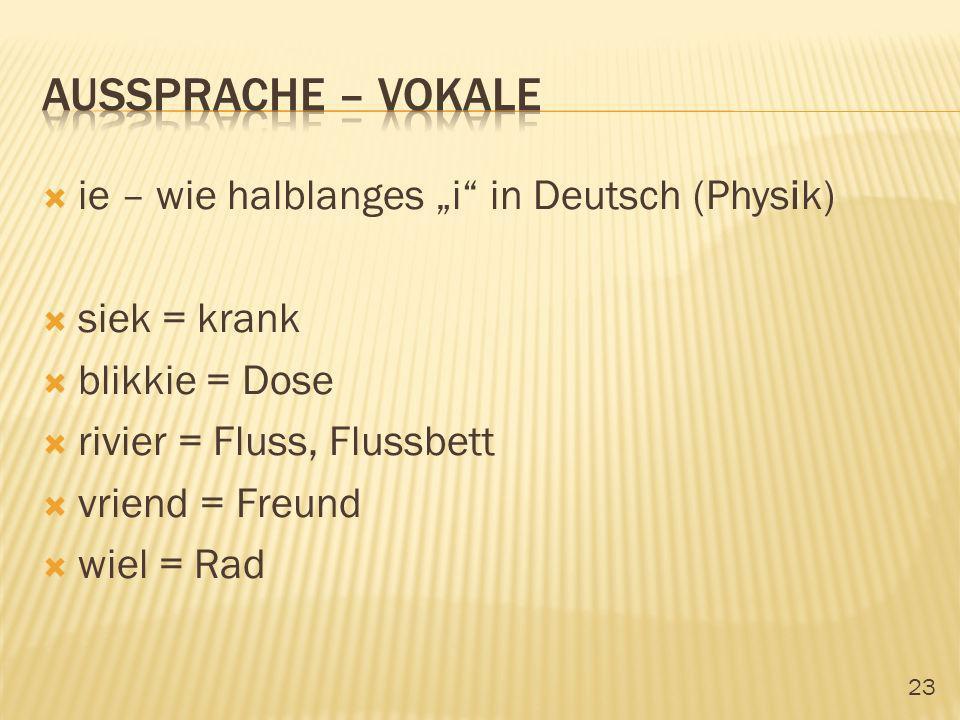 23 ie – wie halblanges i in Deutsch (Physik) siek = krank blikkie = Dose rivier = Fluss, Flussbett vriend = Freund wiel = Rad