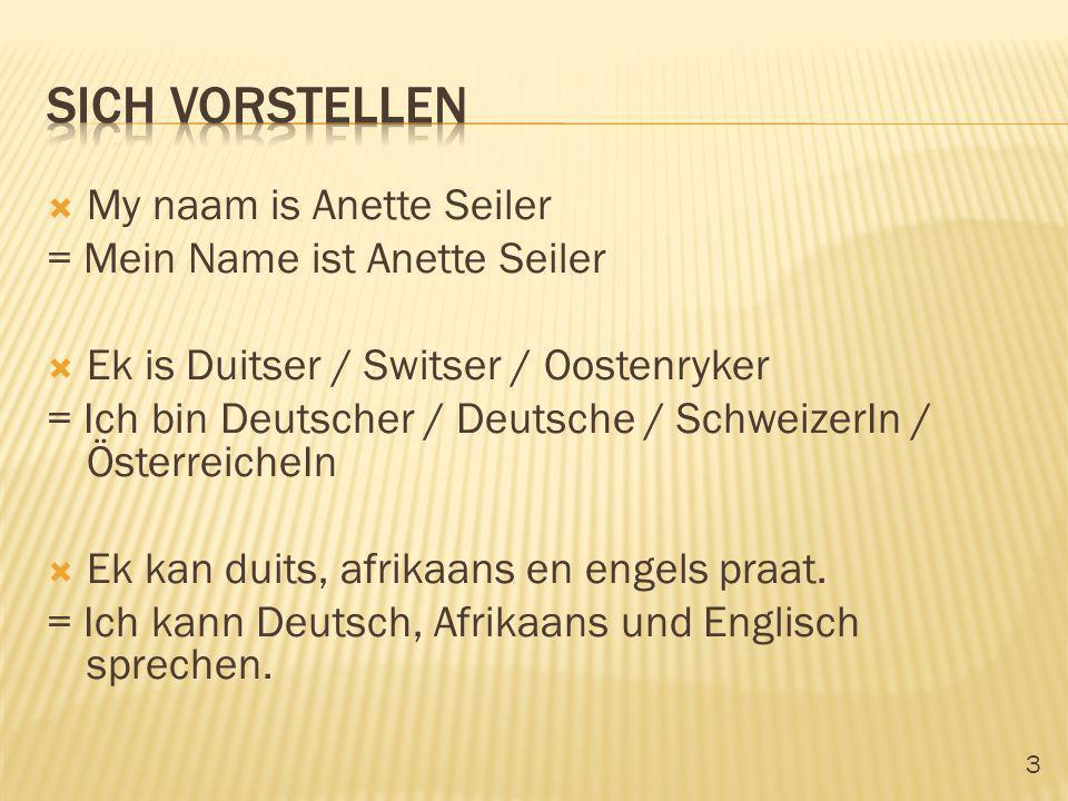 3 My naam is Anette Seiler = Mein Name ist Anette Seiler Ek is Duitser / Switser / Oostenryker = Ich bin Deutscher / Deutsche / SchweizerIn / Österrei