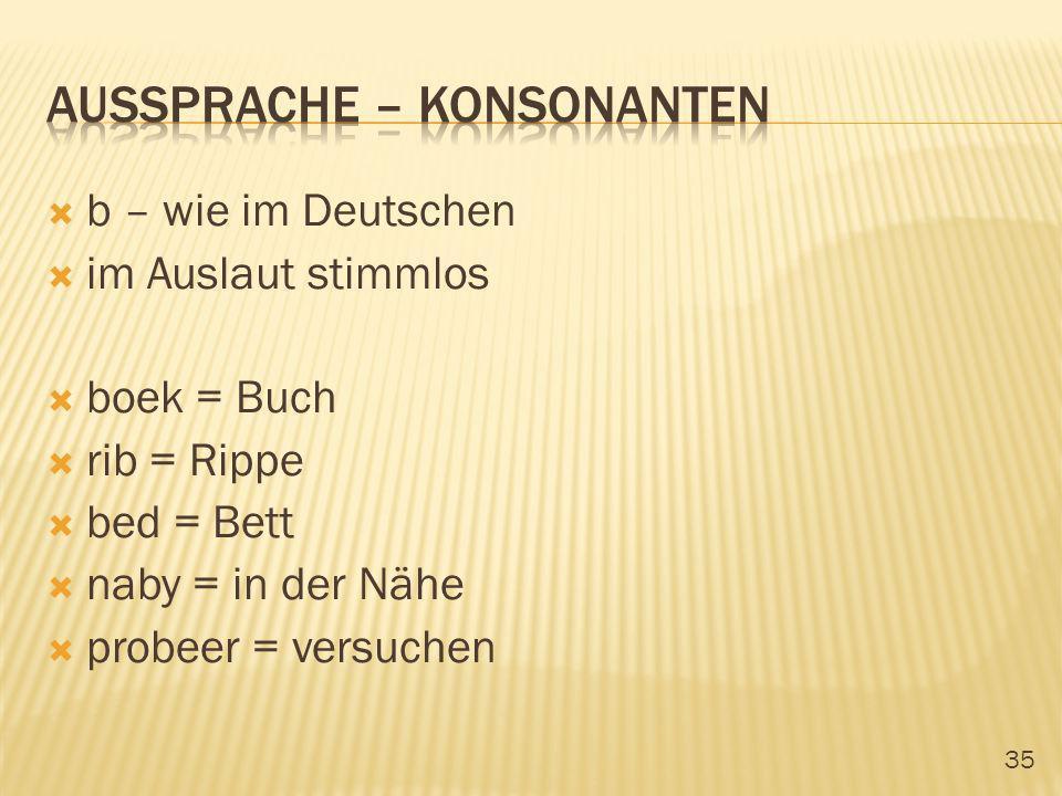 35 b – wie im Deutschen im Auslaut stimmlos boek = Buch rib = Rippe bed = Bett naby = in der Nähe probeer = versuchen