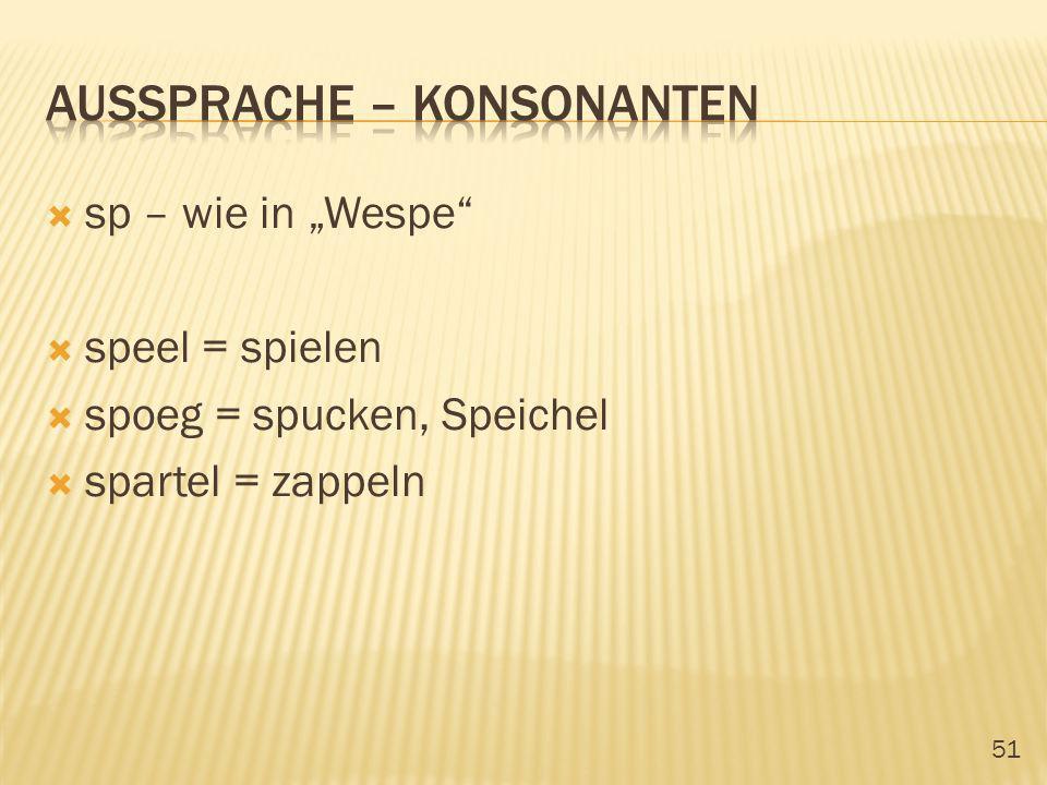 51 sp – wie in Wespe speel = spielen spoeg = spucken, Speichel spartel = zappeln