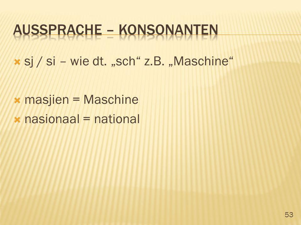 53 sj / si – wie dt. sch z.B. Maschine masjien = Maschine nasionaal = national