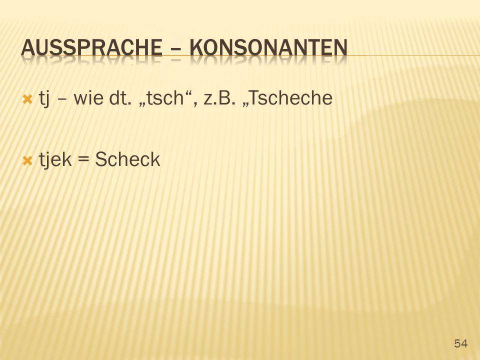 54 tj – wie dt. tsch, z.B. Tscheche tjek = Scheck