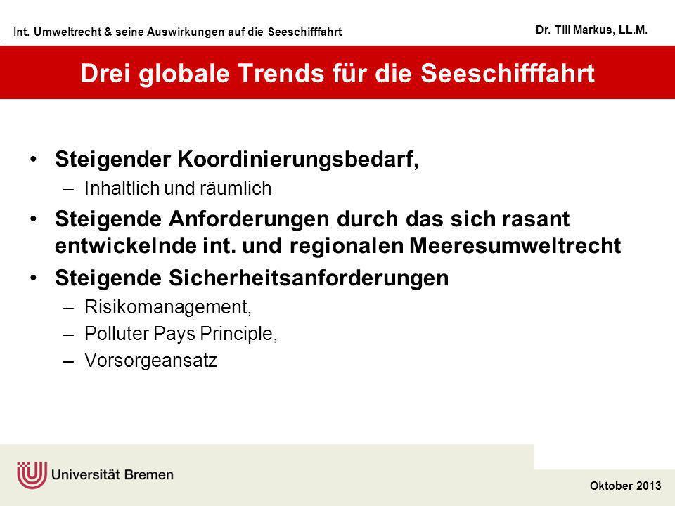 Int. Umweltrecht & seine Auswirkungen auf die Seeschifffahrt Oktober 2013 Dr. Till Markus, LL.M. Drei globale Trends für die Seeschifffahrt Steigender