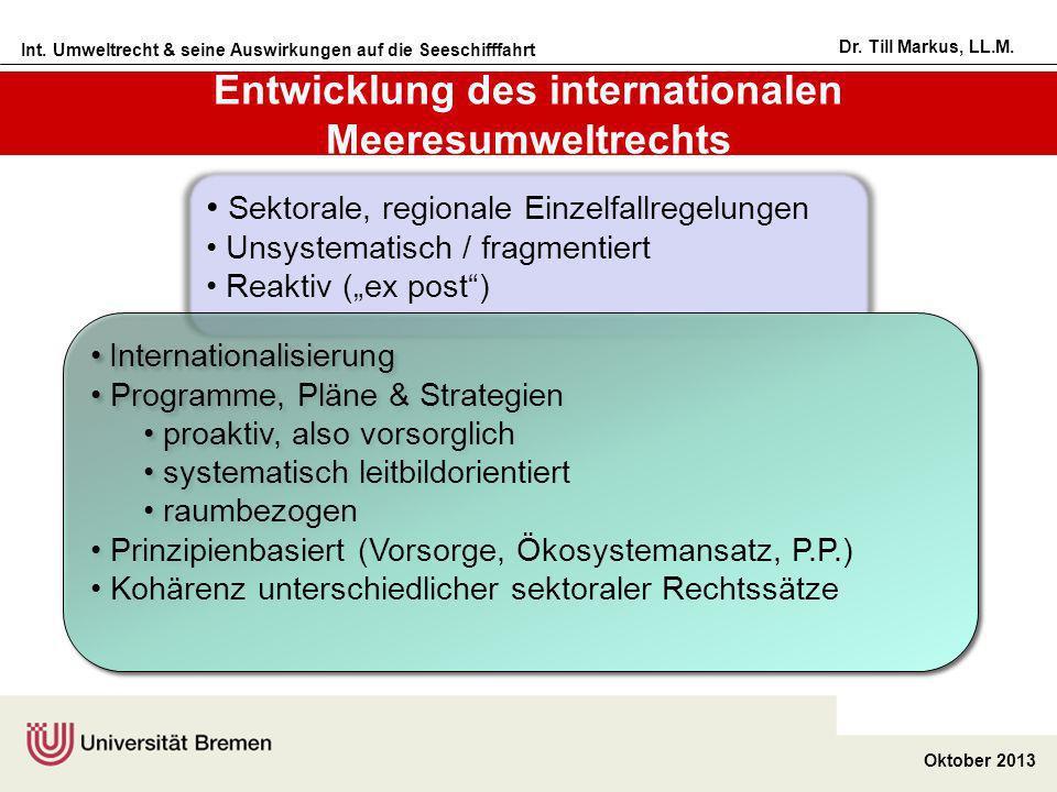 Int. Umweltrecht & seine Auswirkungen auf die Seeschifffahrt Oktober 2013 Dr. Till Markus, LL.M. Sektorale, regionale Einzelfallregelungen Unsystemati