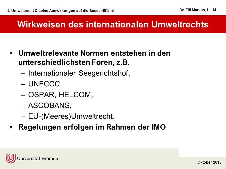 Int. Umweltrecht & seine Auswirkungen auf die Seeschifffahrt Oktober 2013 Dr. Till Markus, LL.M. Wirkweisen des internationalen Umweltrechts Umweltrel