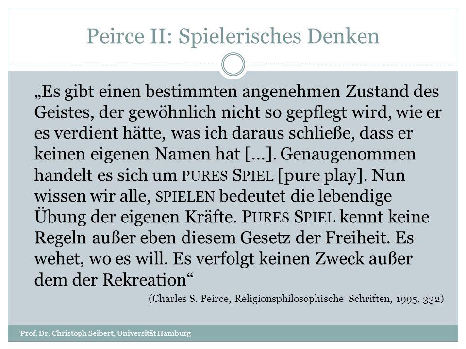 Peirce II: Spielerisches Denken Prof. Dr. Christoph Seibert, Universität Hamburg Es gibt einen bestimmten angenehmen Zustand des Geistes, der gewöhnli