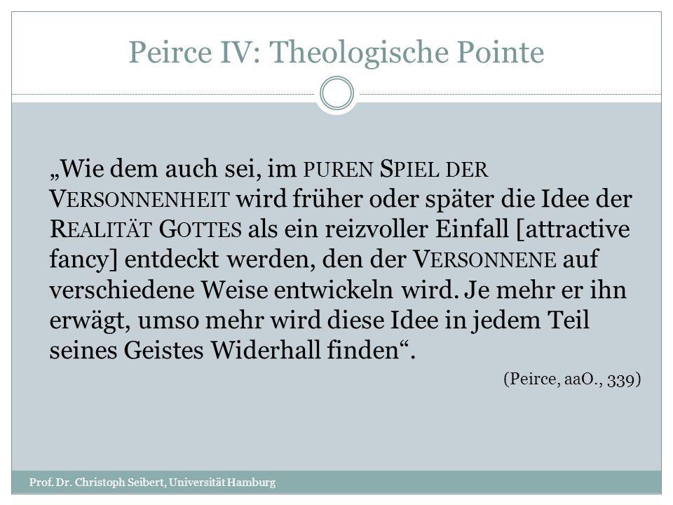 Peirce IV: Theologische Pointe Prof. Dr. Christoph Seibert, Universität Hamburg Wie dem auch sei, im PUREN S PIEL DER V ERSONNENHEIT wird früher oder