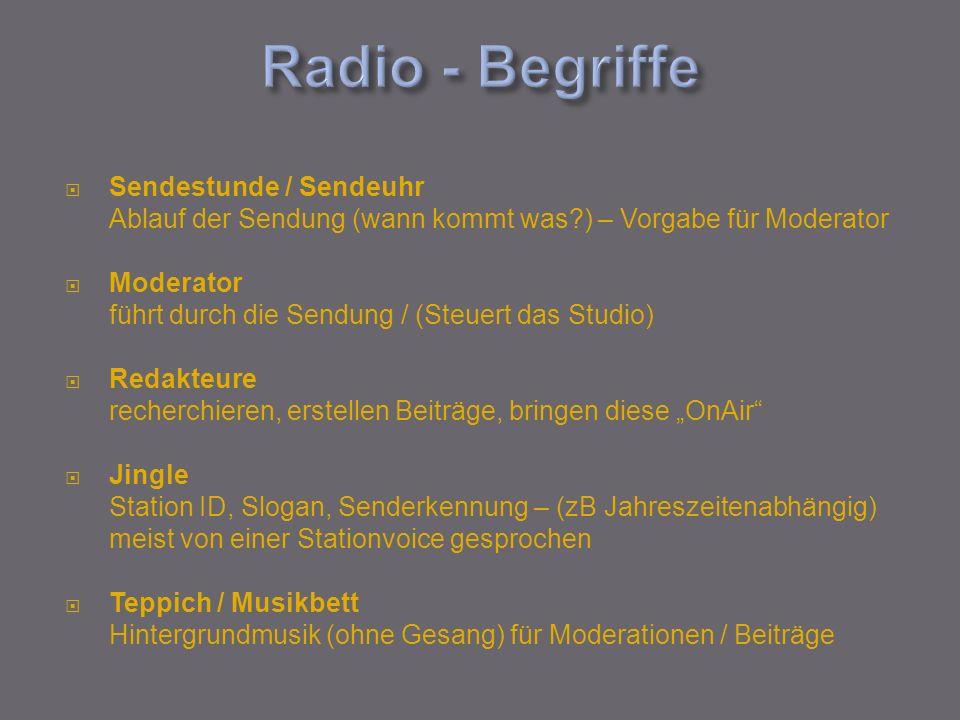 Sendestunde / Sendeuhr Ablauf der Sendung (wann kommt was?) – Vorgabe für Moderator Moderator führt durch die Sendung / (Steuert das Studio) Redakteur