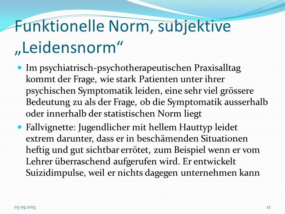 Funktionelle Norm, subjektive Leidensnorm Im psychiatrisch-psychotherapeutischen Praxisalltag kommt der Frage, wie stark Patienten unter ihrer psychis
