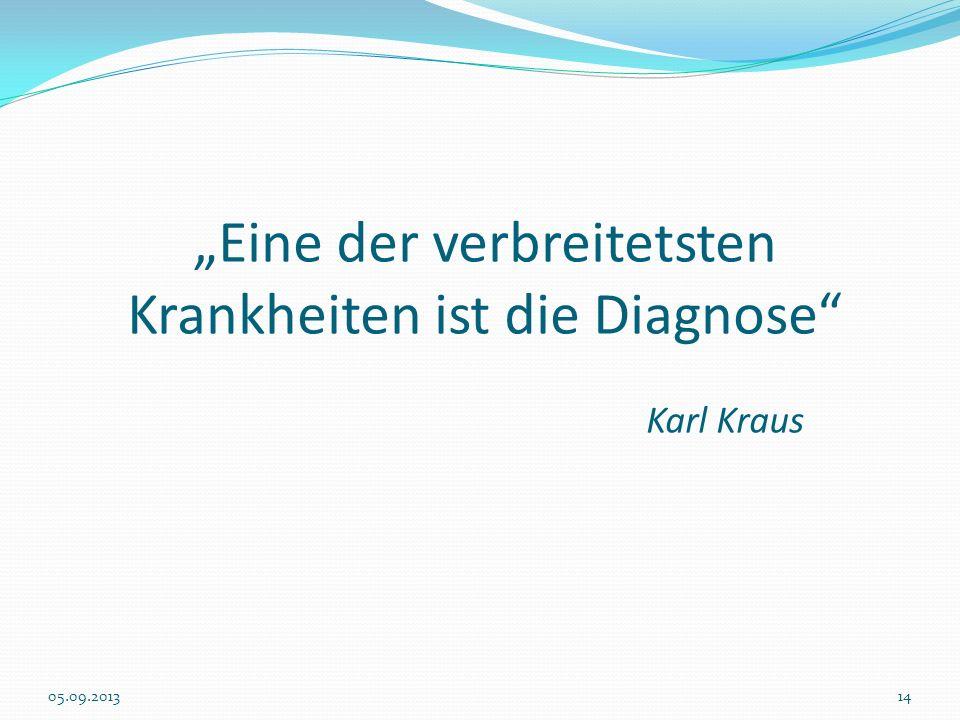 Eine der verbreitetsten Krankheiten ist die Diagnose Karl Kraus 05.09.201314