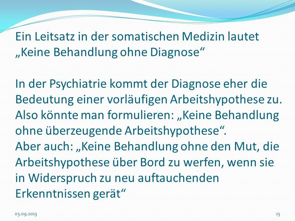 Ein Leitsatz in der somatischen Medizin lautet Keine Behandlung ohne Diagnose In der Psychiatrie kommt der Diagnose eher die Bedeutung einer vorläufig