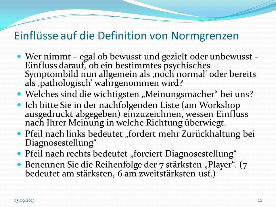 Einflüsse auf die Definition von Normgrenzen Wer nimmt – egal ob bewusst und gezielt oder unbewusst - Einfluss darauf, ob ein bestimmtes psychisches S