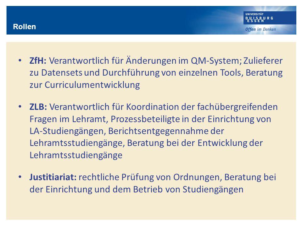 Rollen ZfH: Verantwortlich für Änderungen im QM-System; Zulieferer zu Datensets und Durchführung von einzelnen Tools, Beratung zur Curriculumentwicklu