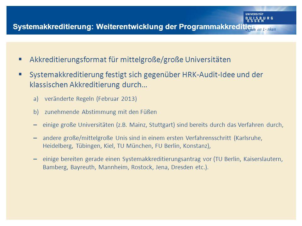 Akkreditierungsformat für mittelgroße/große Universitäten Systemakkreditierung festigt sich gegenüber HRK-Audit-Idee und der klassischen Akkreditierun