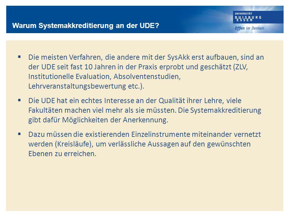 Die meisten Verfahren, die andere mit der SysAkk erst aufbauen, sind an der UDE seit fast 10 Jahren in der Praxis erprobt und geschätzt (ZLV, Institut