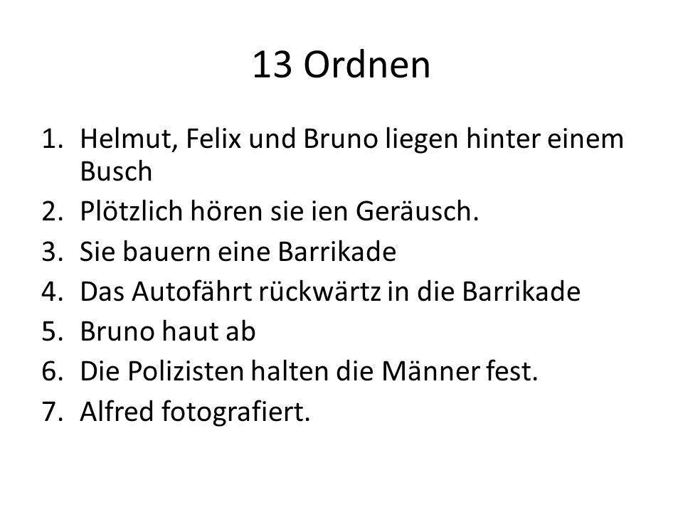 13 Ordnen 1.Helmut, Felix und Bruno liegen hinter einem Busch 2.Plötzlich hören sie ien Geräusch. 3.Sie bauern eine Barrikade 4.Das Autofährt rückwärt