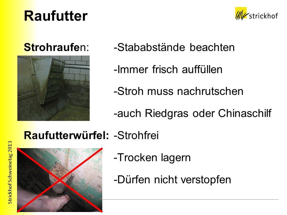 Strickhof Schweinetag 2013 Raufutter Strohraufen: -Stababstände beachten -Immer frisch auffüllen -Stroh muss nachrutschen -auch Riedgras oder Chinasch