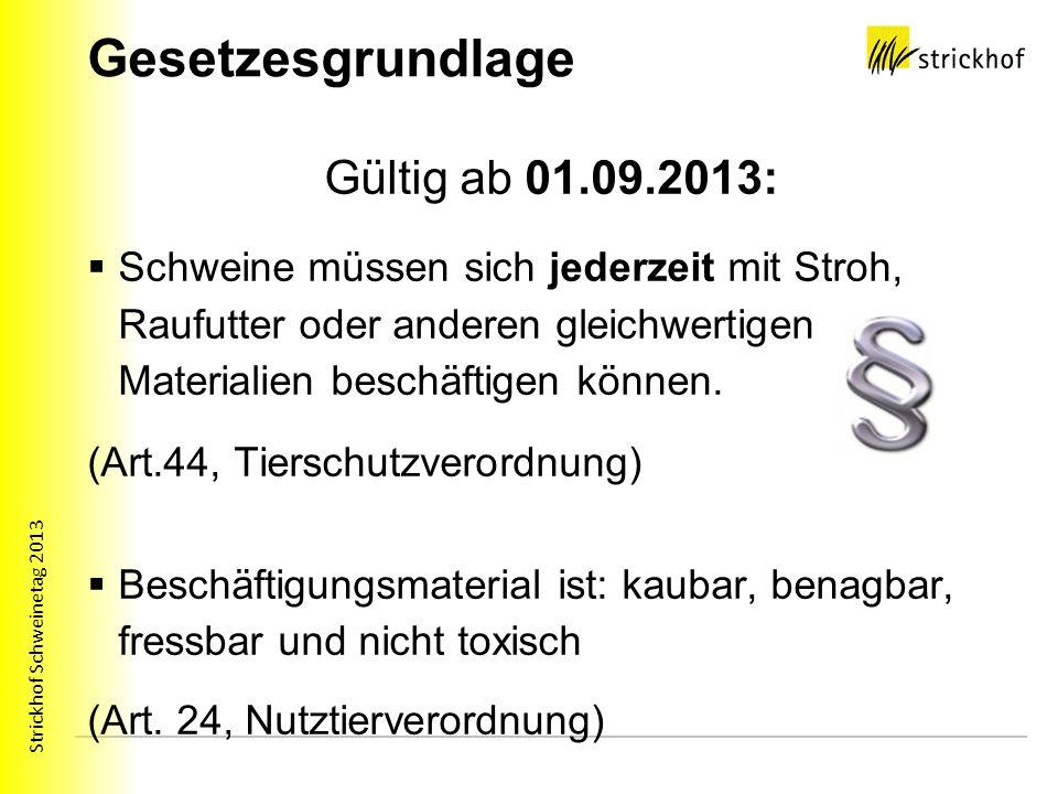 Strickhof Schweinetag 2013 Gesetzesgrundlage Gültig ab 01.09.2013: Schweine müssen sich jederzeit mit Stroh, Raufutter oder anderen gleichwertigen Mat