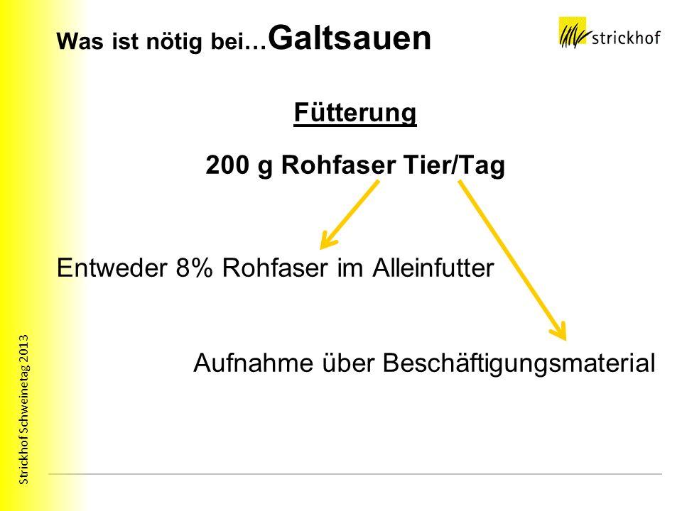 Strickhof Schweinetag 2013 Was ist nötig bei… Galtsauen Fütterung 200 g Rohfaser Tier/Tag Entweder 8% Rohfaser im Alleinfutter Aufnahme über Beschäfti