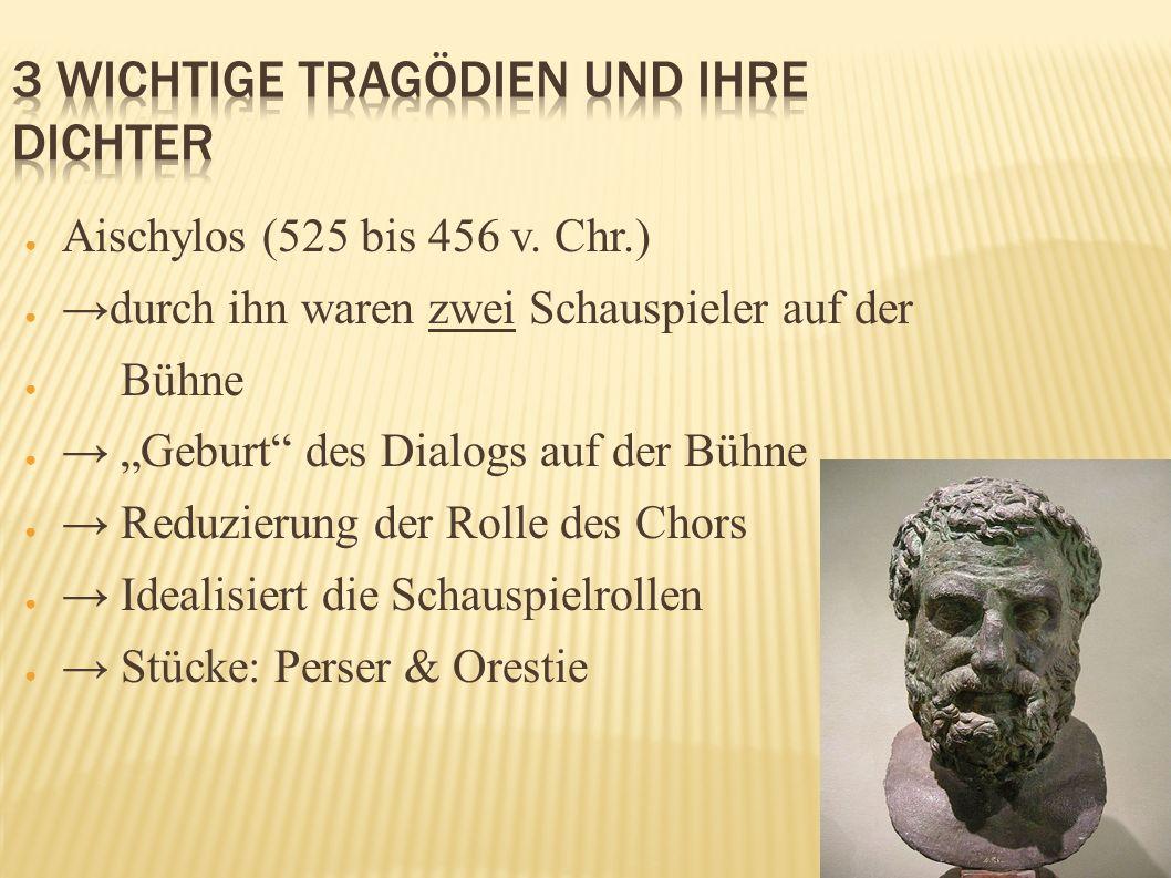 Aischylos (525 bis 456 v. Chr.) durch ihn waren zwei Schauspieler auf der Bühne Geburt des Dialogs auf der Bühne Reduzierung der Rolle des Chors Ideal