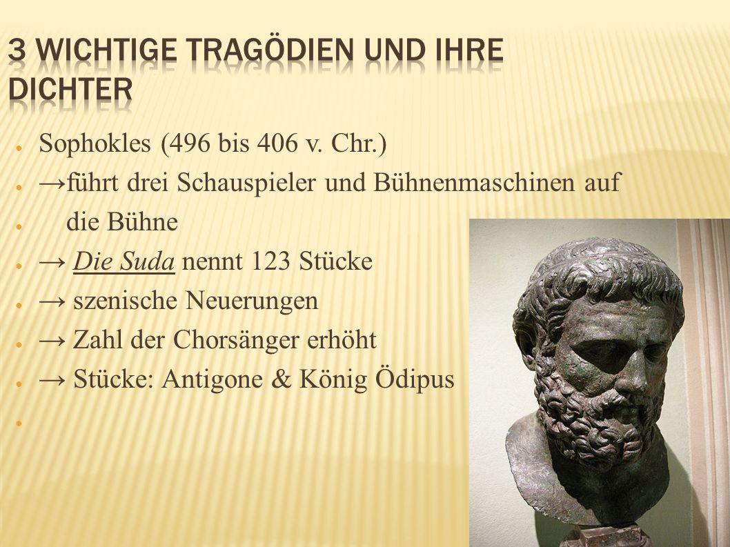 Sophokles (496 bis 406 v. Chr.) führt drei Schauspieler und Bühnenmaschinen auf die Bühne Die Suda nennt 123 Stücke szenische Neuerungen Zahl der Chor
