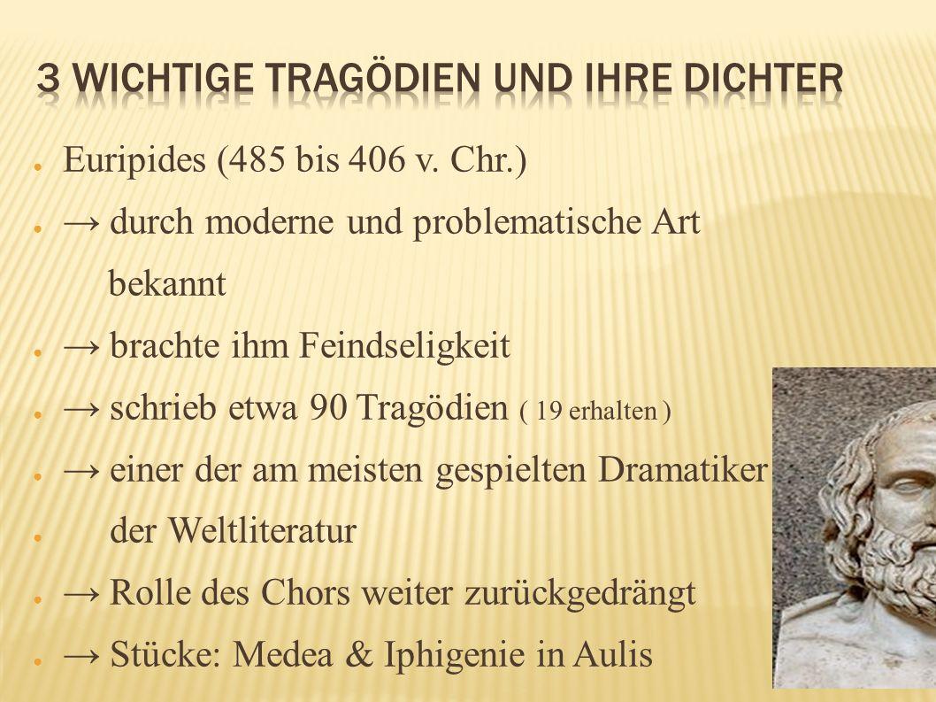 Euripides (485 bis 406 v. Chr.) durch moderne und problematische Art bekannt brachte ihm Feindseligkeit schrieb etwa 90 Tragödien ( 19 erhalten ) eine
