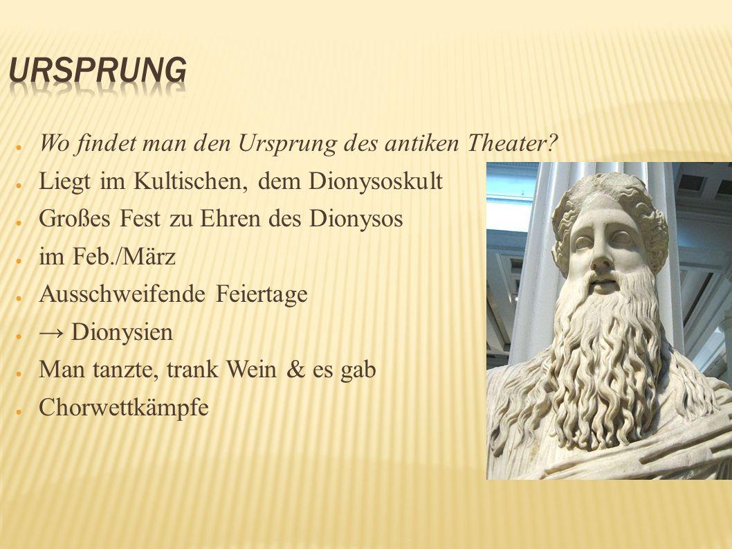 Wo findet man den Ursprung des antiken Theater? Liegt im Kultischen, dem Dionysoskult Großes Fest zu Ehren des Dionysos im Feb./März Ausschweifende Fe